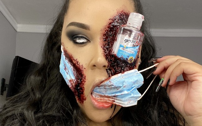 Makeup artist Gen Arias and her horrifying, pandemic-inspired look for Halloween - which takes 2.5 hours to apply and uses liquid latex, fake blood, a surgical mask and a mini bottle of hand sanitizer