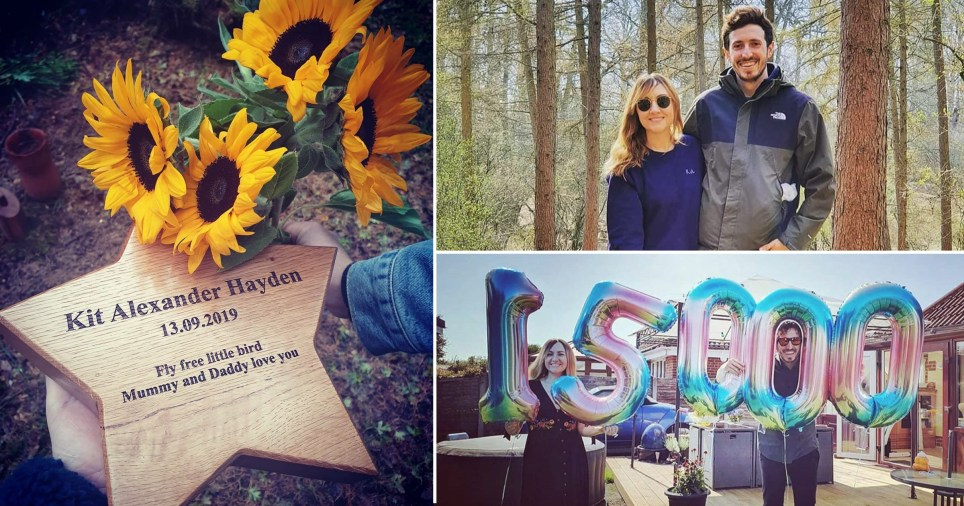 Rachael Hayden and husband Alex,  from Denham, Buckinghamshire, and a memorial to their stillborn son Kit Alexander Hayden as they revealed their pain of giving birth to a stillborn baby in aid of Baby Loss Awareness Week