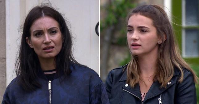 Emmerdale stars Rosie Bentham and Roxy Shahidi as Gabby Thomas and Leyla Harding