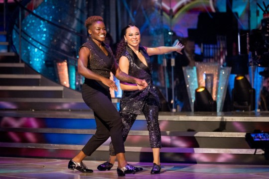 For use in UK, Ireland or Benelux countries only Undated BBC handout photo of Nicola Adams (left) and Katya Jones during the launch show for the BBC1 dancing contest, Strictly Come Dancing. PA Photo. Issue date: Sunday October 18, 2020. See PA story SHOWBIZ Strictly. Photo credit should read: BBC/PA Wire NOTE TO EDITORS: Not for use more than 21 days after issue. You may use this picture without charge only for the purpose of publicising or reporting on current BBC programming, personnel or other BBC output or activity within 21 days of issue. Any use after that time MUST be cleared through BBC Picture Publicity. Please credit the image to the BBC and any named photographer or independent programme maker, as described in the caption.