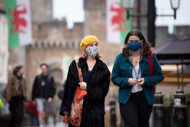 Women wearing face masks in Cardiff