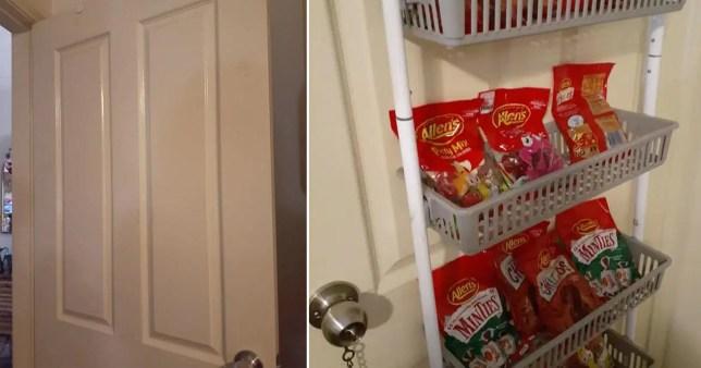 Split image of a door and of snacks hanging off the door in storage