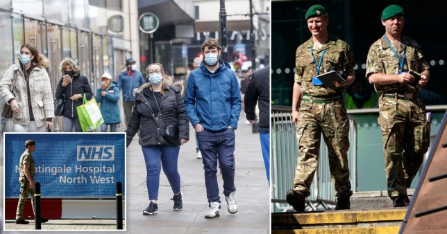 People wearing facemasks in Manchester (left) and members of the British Armed Forces
