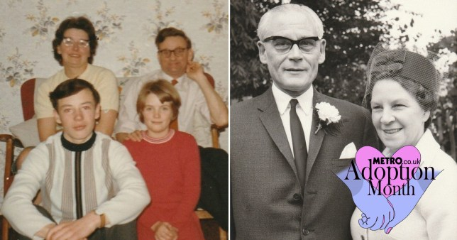 Two pictures: on the left is Mervyn and his parents and sister in the 1950s, the other picture is a black and white photo of tom and Lucy on their wedding day