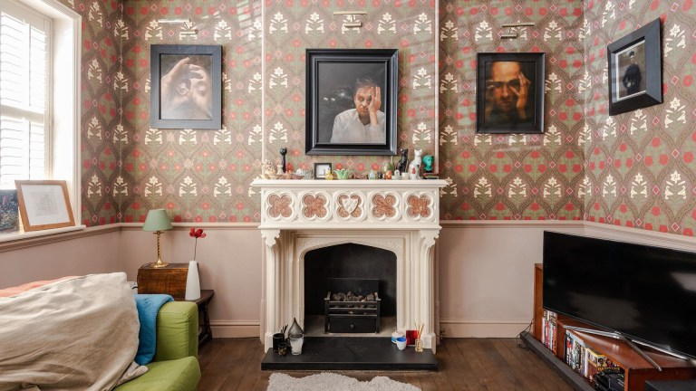 wallpapered living room in london tower