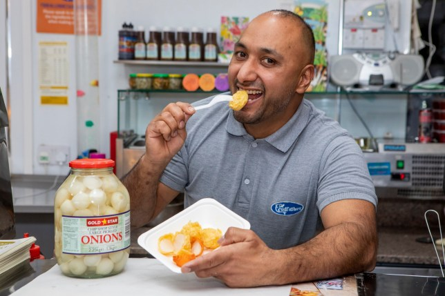 Deep fried pickled onions created by Amandeep Singh at Codfather Fish & Chip Shop in Cambuslang, Glasgow.