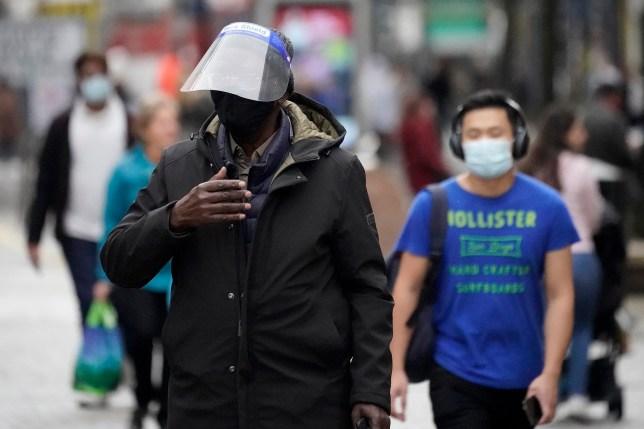 people in sheffield wearing face masks
