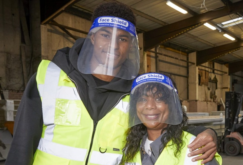 EMBARGOED TO 0001 FRIDAY OCTOBER 23 Handout photo issued by Fareshare/Mark Waugh of England football star Marcus Rashford visiting FareShare Greater Manchester at New Smithfield Market with his mother (right), which is naming a new warehouse in her honour. PA Photo. Issue date: Friday October 23, 2020. The pair's visit to FareShare Greater Manchester came a day after a Labour motion for the free school meals scheme to be extended over school holidays until Easter 2021 was defeated in the House of Commons. See PA story POLITICS Schools Fareshare. Photo credit should read: Fareshare/Mark Waugh/PA Wire NOTE TO EDITORS: This handout photo may only be used in for editorial reporting purposes for the contemporaneous illustration of events, things or the people in the image or facts mentioned in the caption. Reuse of the picture may require further permission from the copyright holder.