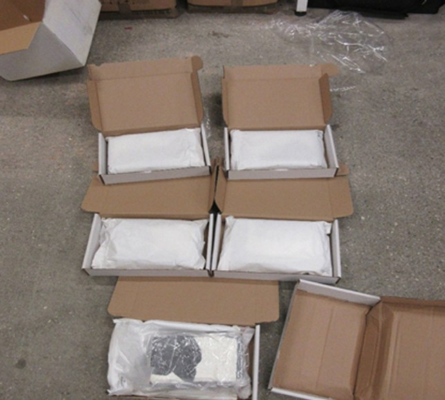 Some of the of five kilos of cocaine that were found hidden inside boxes of whey protein powder by Border Force officers at London Gateway Parcel Hub in January.