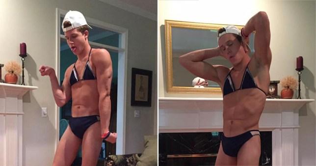 Man posing in women's bikini