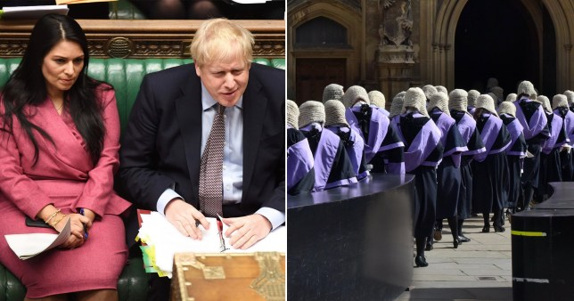 Boris Johnson and Priti Patel in a compilation image with a group of lawyers.