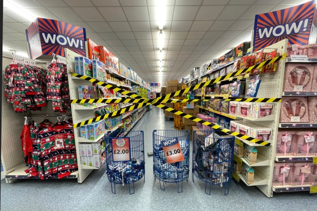 CARDIFF, WALES - OCTOBER 27: Aisles blocked off in a B&M store on October 27, 2020, in Cardiff, Wales. Pressure has mounted on the Welsh Government to reverse the decision to prohibit supermarkets from selling 'non-essential' items such as clothes and microwaves during the 'firebreak' lockdown period with a petition being submitted to the Senedd with over 66,000 signatures. (Photo by Matthew Horwood/Getty Images)