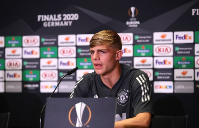 COLOGNE, GERMANY - AUGUST 09: In this handout image provided by UEFA Brandon Williams of Manchester United speaks to the media during a press conference ahead of their UEFA Europa League Quarter Final match against FC Kobenhavn at RheinEnergieStadion on August 09, 2020 in Cologne, Germany. (Photo by UEFA - Handout/UEFA via Getty Images)