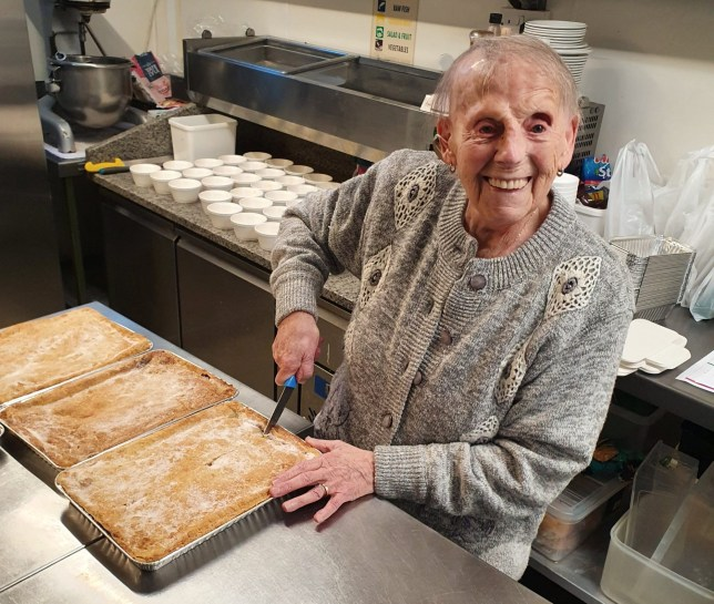 Flo Osborne who has made pies for hungry children. See SWNS copy SWCApies: A great-great-grandmother has rallied to Marcus Rashford's calls and has baked hundreds of pies - which will help to feed hungry kids during half term. Keen baker Flo Osborne, 89, has thrown herself into pie-making during lockdown to help feed those going hungry - and sometimes produces as many as 20 a day. Flo gets up at the crack of dawn - sometimes as early as 4.30am - to get to work in her tiny kitchen in Harwich, Essex, where she can only bake two or three pies in one go.