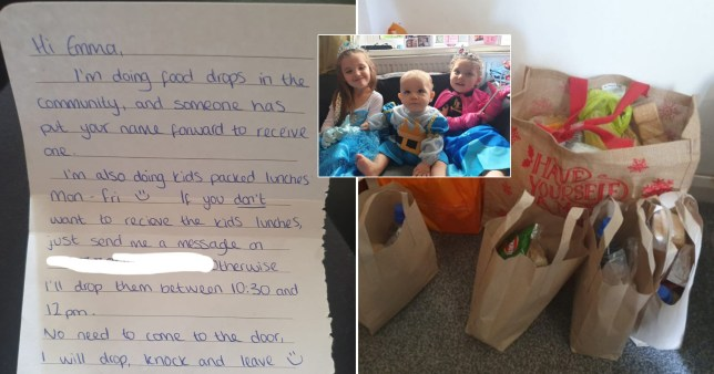 Emma Frost, from Blacon, received a touching note, two bags of shopping and five children's lunches.
