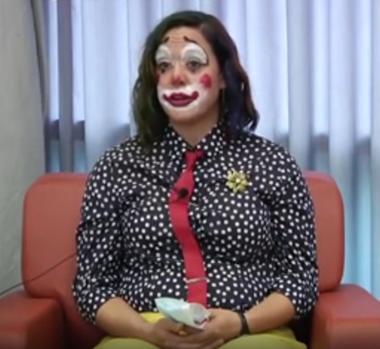 Oregon Public Health Division senior official Doctor Claire Poche dressed as a clown while delivering an update on coronavirus on October 14