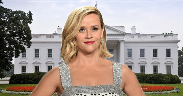 Reese Witherspoon pictured in front of the White House