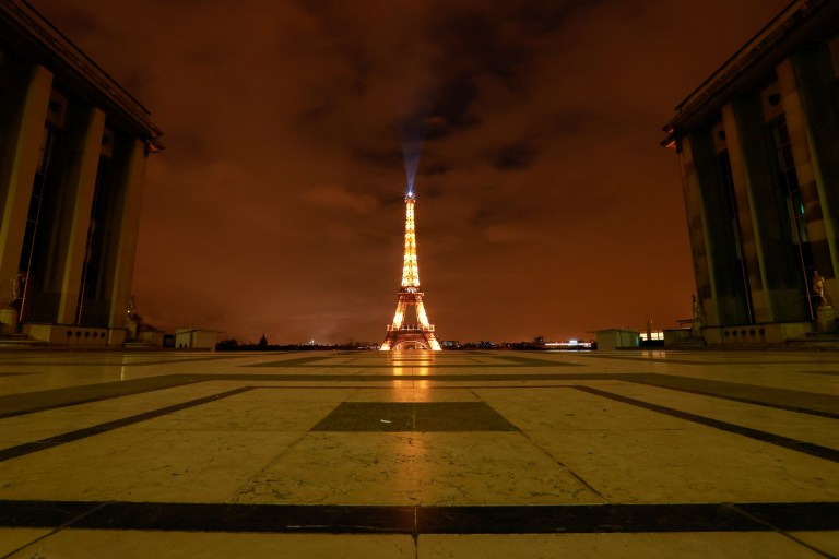 The Eiffel Tower is pictured as the national lockdown starts as part of the COVID-19 measures to fight a second wave of the coronavirus disease (COVID-19), in Paris, France, October 30, 2020. REUTERS/Christian Hartmann