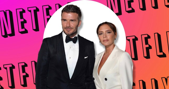 David Beckham and Victoria in front of Netflix logo