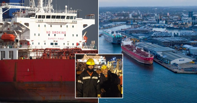 The crew of the Nave Andromeda (inset) has said thanks to the SBS rescuers who secured the vessel in nine minutes. (Picture: Mission to Seafarers/Reuters/ SWNS)