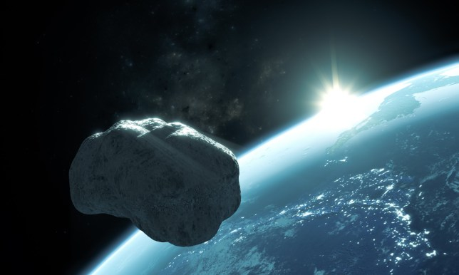 A 3D rendering of an asteroid passing close to Earth
