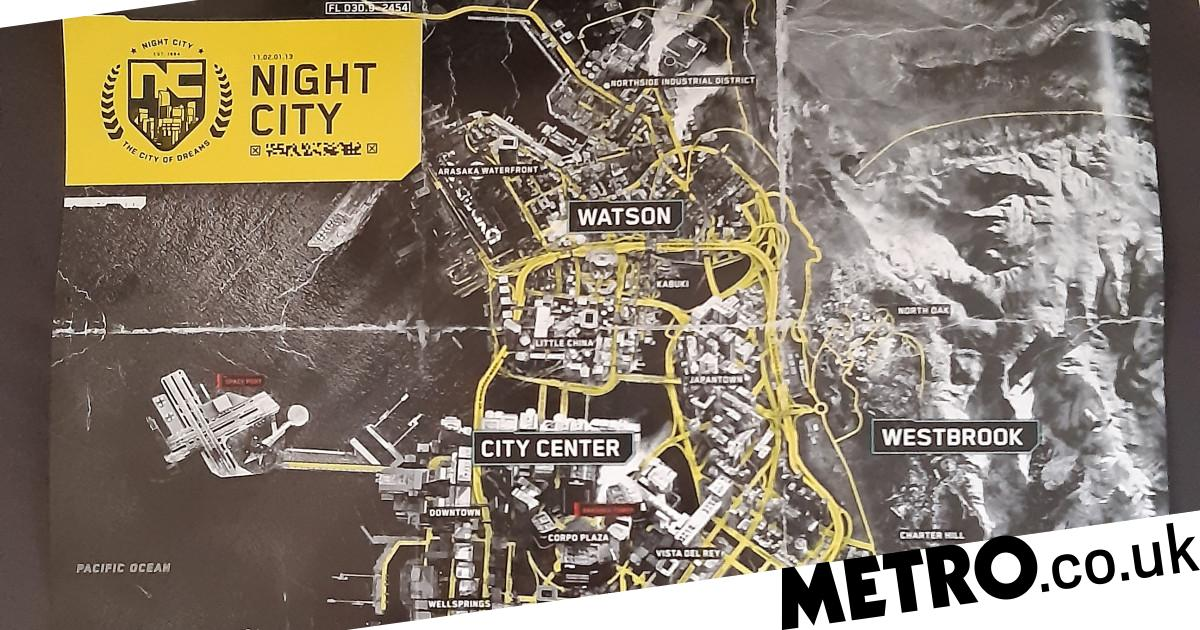 Cyberpunk 2077's full map and physical edition contents ...