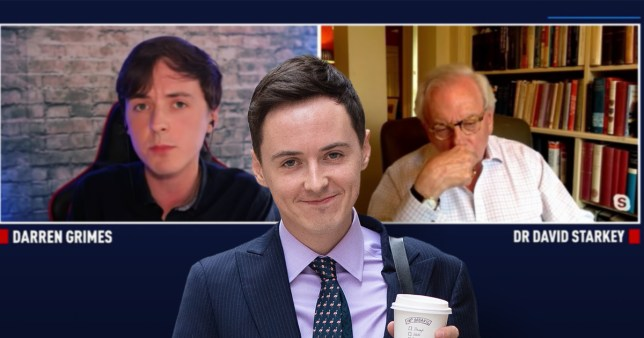 Composition of Darren Grimes imposed onto screen grab of June interview with historian David Starkey