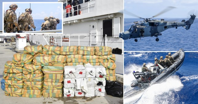 Royal Navy personnel seize £160million worth of drugs in the Caribbean as part of a seizure with the   Royal Marines, US Coast Guard teams and a Dutch Navy