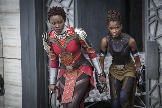 Lupita Nyong'o and Letitia Wright in Black Panther