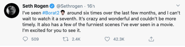 Seth Rogen Borat tweet