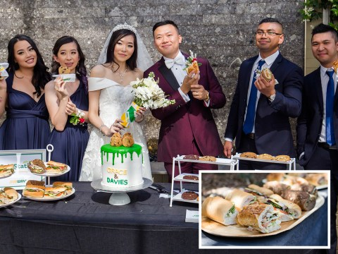 Subway superfans have sandwich-themed wedding and serve subs and cookies to guests