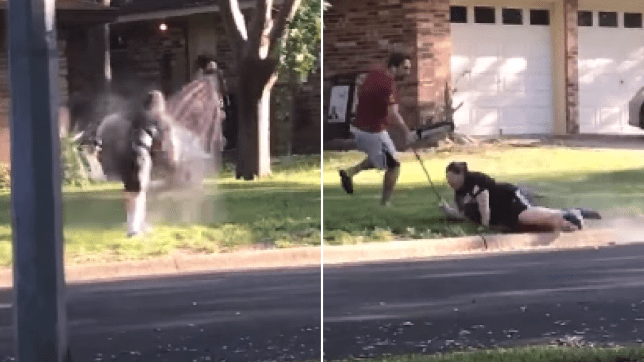 Woman hosed down after demanding removal of BLM sign