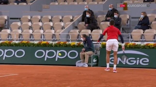 Novak Djokovic reacts after hitting a line judge in the face with a ball at the French Open.