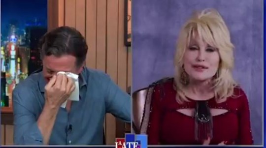 Dolly Parton's singing moves Stephen Colbert to tears