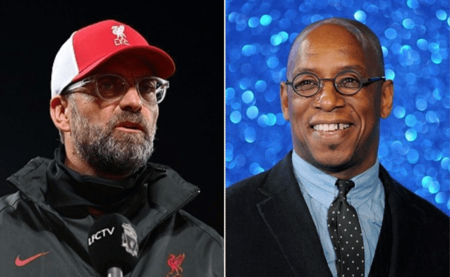 Arsenal legend Ian Wright looks on next to Liverpool manager Jurgen Klopp