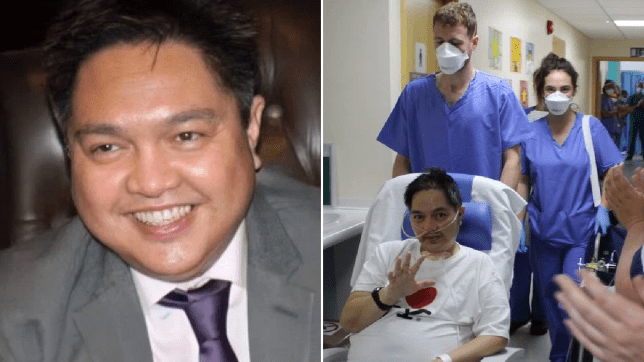 Roehl Ribaya, in a suit and leaving hospital without coronavirus