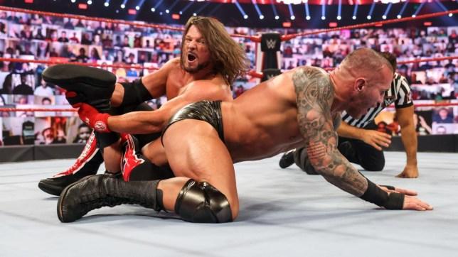 WWE superstars AJ Styles and Randy Orton on Raw