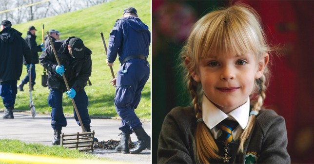Emily Jones, seven, and the park in Bolton where she was murdered on Mother's Day 2020