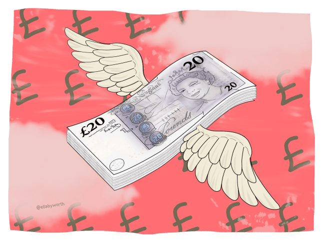 an illustration of money flying through the sky