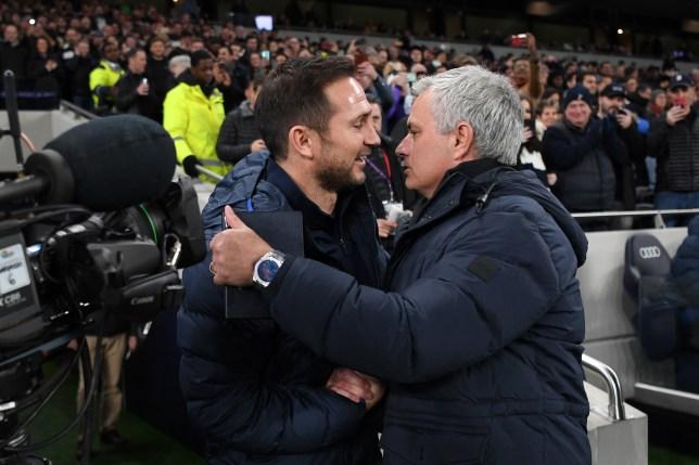 Frank Lampard and Jose Mourinho hug ahead of Chelsea's Premier League clash with Tottenham