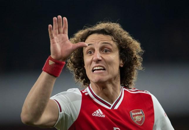 David Luiz clashed with Arsenal team-mate Dani Ceballos during Arsenal training