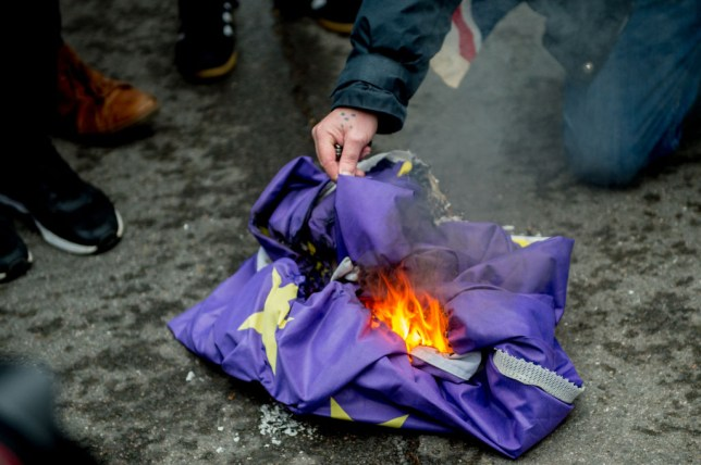 A European Union flag being burned on the ground