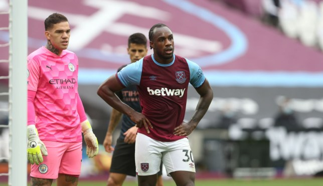 Michail Antonio looks on during West Ham's Premier League clash with Manchester City
