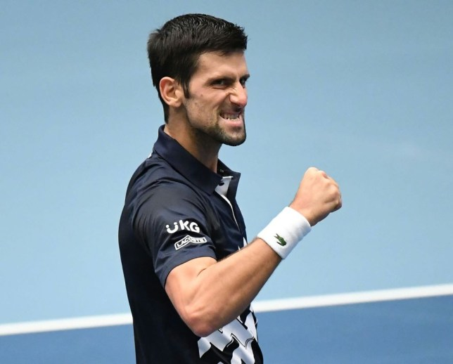 Serbia's Novak Djokovic reacts after his match against Croatia's Borna Coric during the Erste Bank Open ATP tennis tournament in Vienna, on October 28, 2020.