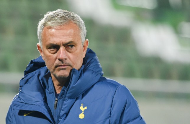 Tottenham's Head coach Jose Mourinho looks on prior the second half of the UEFA Europe League group stage football match between Ludogorets Razgrad and Tottenham Hotspur in Razgrad on November 5, 2020.