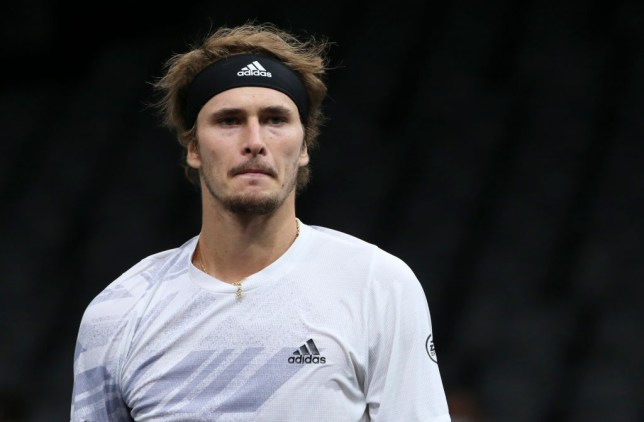 Alexander Zverev of Germany during the Men's Final against Daniil Medvedev of Russia on day 7 of the Rolex Paris Masters, an ATP Masters 1000 tournament held behind closed doors at AccorHotels Arena formerly known as Paris Bercy on November 8, 2020 in Paris, France.