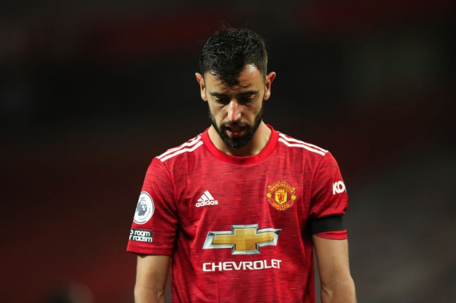 Bruno Fernandes looks on during Manchester United's Premier League win over West Brom