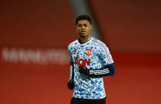 Marcus Rashford of Manchester United warms up prior to the Premier League match between Manchester United and Arsenal at Old Trafford on November 01, 2020 in Manchester, England. Sporting stadiums around the UK remain under strict restrictions due to the Coronavirus Pandemic as Government social distancing laws prohibit fans inside venues resulting in games being played behind closed doors.