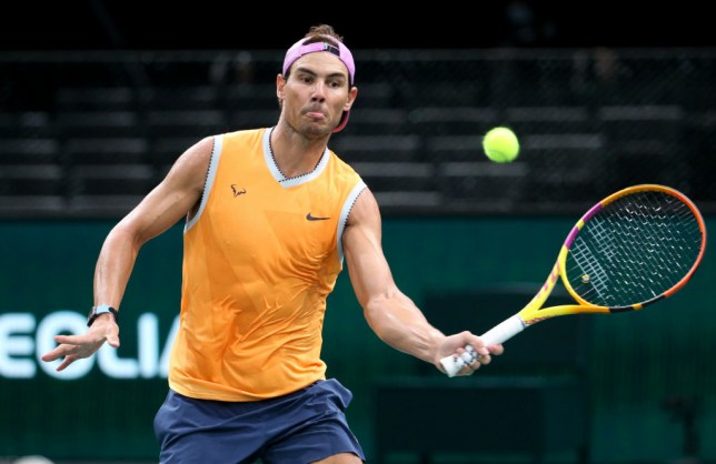 Rafael Nadal of Spain warms up during day 6 of the Rolex Paris Masters, an ATP Masters 1000 tournament held behind closed doors at AccorHotels Arena formerly known as Paris Bercy on November 7, 2020 in Paris, France.