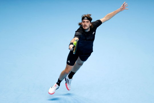 Stefanos Tsitsipas of Greece in action during his round robin match against Dominic Thiem of Austria during their first round robin match on Day one of the Nitto ATP World Tour Finals at The O2 Arena on November 15, 2020 in London, England.